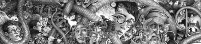 Hary Potter Cover Artwork Spread by Brian Selznick